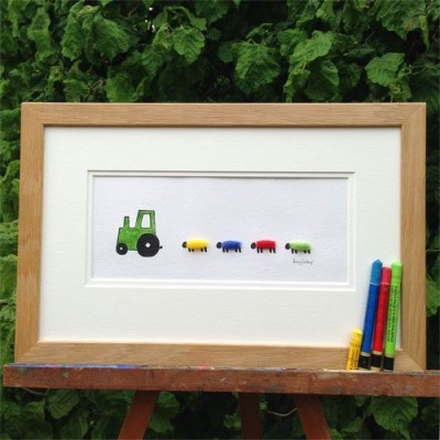 Picture - Tractor, green, and 4 Sheep Nursery Picture