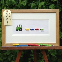 Nursery Tractor Print With a Green Tractor and 4 Sheep