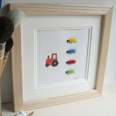 Picture - Red Tractor And Bright Sheep
