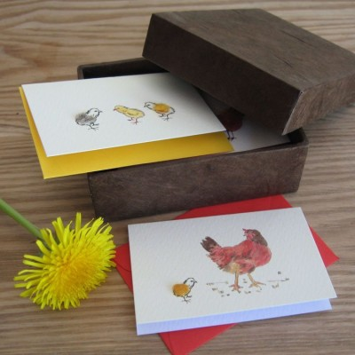 Boxed Gift Cards with Hens and Chickens