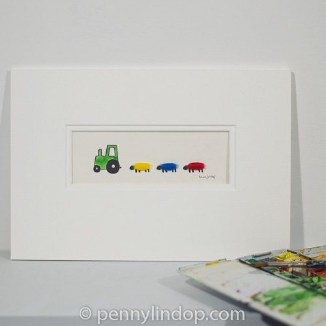 Green Nursery Tractor & Sheep Picture