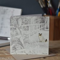 Greeting Card - Cat by a Bicycle