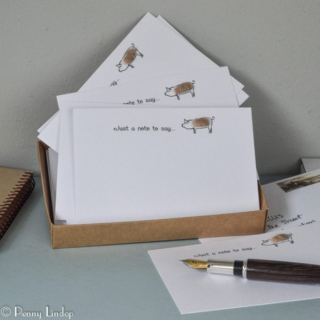 Set of 10 Notecards - Pigs