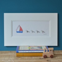 Seagulls and Sailing Boat Print