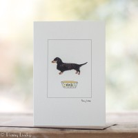 Dachshund Card, black and tan dachshund