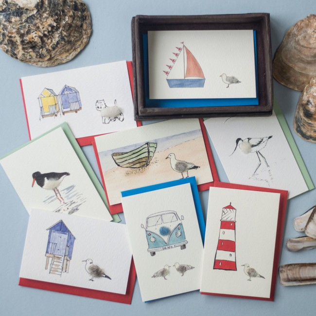 Boxed Gift Cards with a Seaside Theme