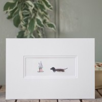 Dachshund and Flowers Print