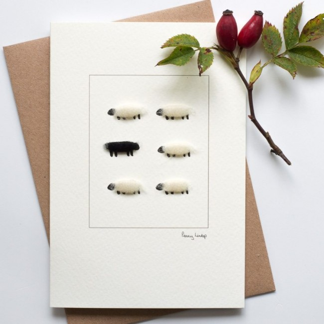 Black and white sheep card