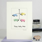 New Baby card with Sheep Mobile