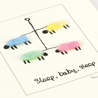 Handmade Greeting Card - New Baby with Sheep Mobile
