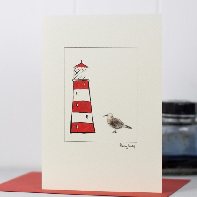 Greeting card - Seagull and Lighthouse