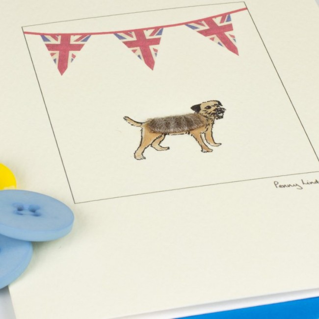 Border Terrier Union Jack Card