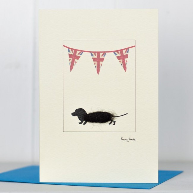 Dachshund Union Jack Card