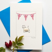 Westie and Union Flags Dog Card