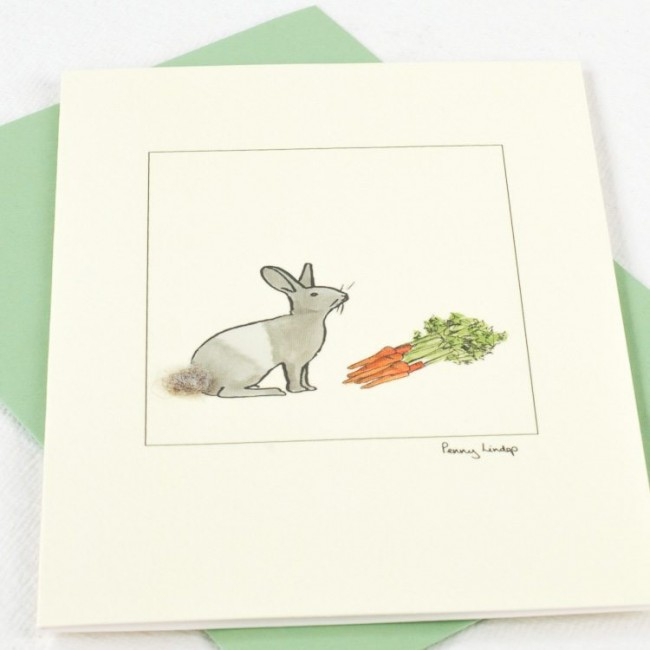 Rabbit Card -  Dutch Rabbit and Carrots Card