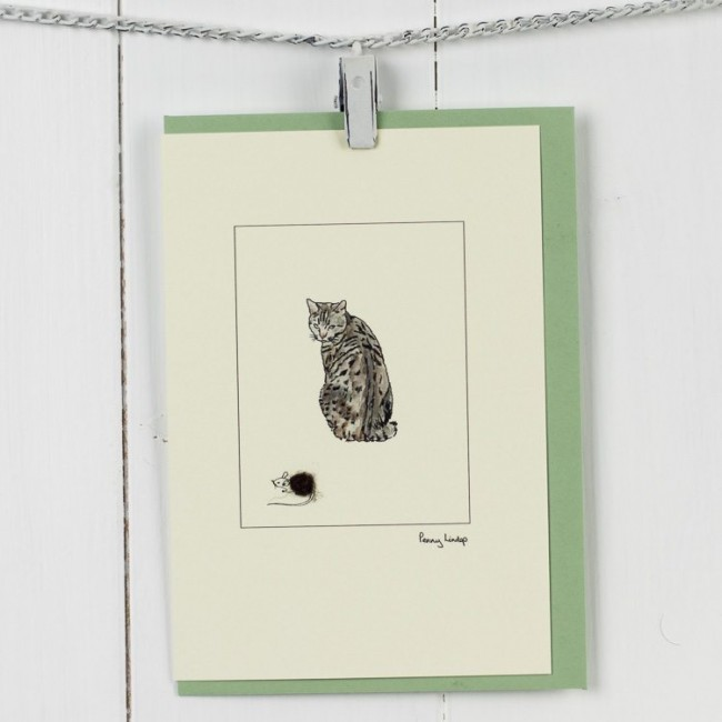 Cat card - Tabby Cat And Mouse