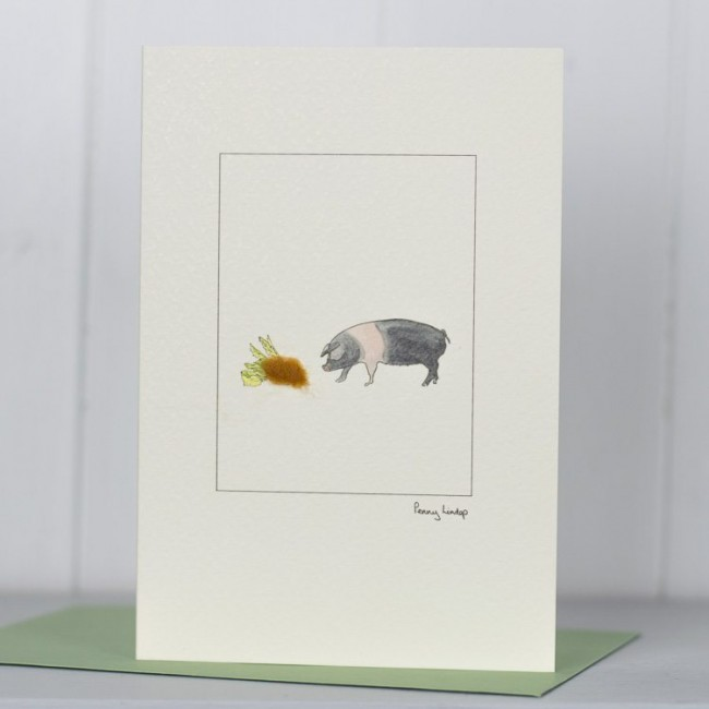 British Saddleback Pig Card