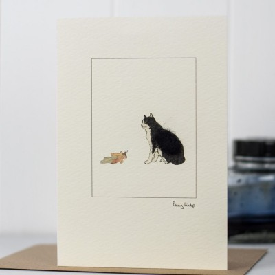 Greeting Card - Black and White Cat