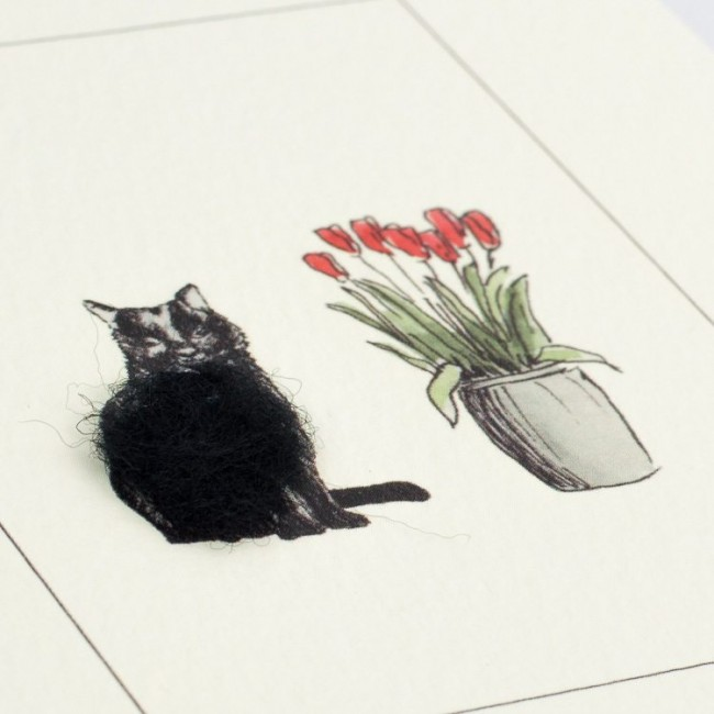 Greeting Card - Black Cat with Tulips