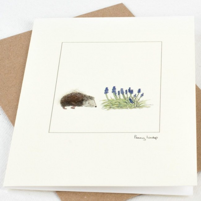 Hedgehog & Grape Hyacinths Card