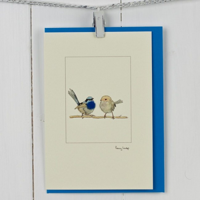 Australian Blue Wren Card