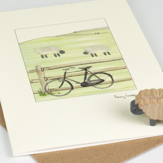 Sheep & Bicycle Card