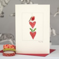 Robin & Hanging Hearts Christmas Card