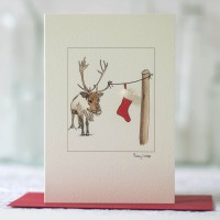 Reindeer & Stocking Christmas Card