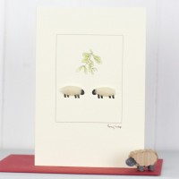 Sheep Beneath Mistletoe Christmas Card