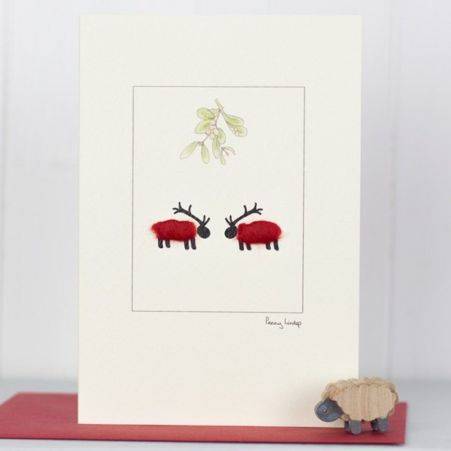 Reindeer Sheep Christmas Card