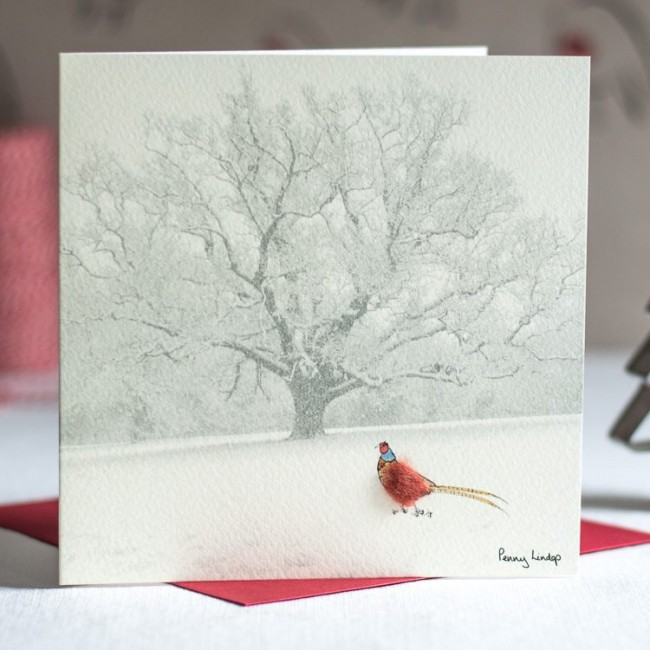 Pheasant & Snowy Tree Christmas Card