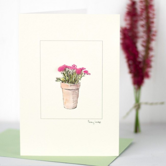 Pink Flowers - Greeting Card