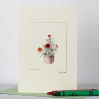 Orange Wallflowers Greeting Card