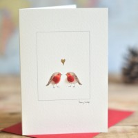 Robins & Heart Christmas Card