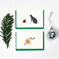 Cat Christmas Gift Cards, pack of 6