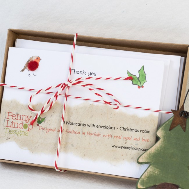 Set of 10 Christmas Thank You Notecards - Red Robin