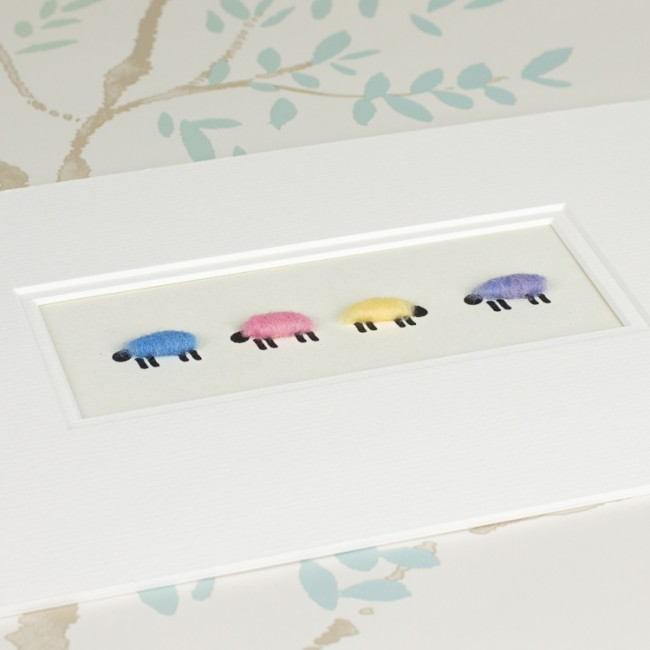 Pastel Coloured Woolly Sheep Print