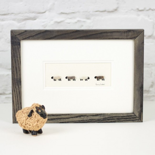 4 Natural Woolly Sheep Print, Pale Shades