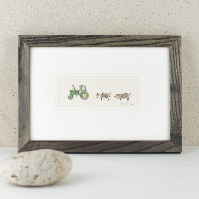 Pigs and John Deere Tractor Print
