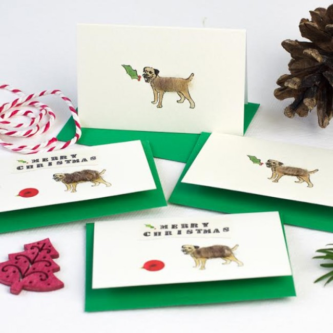 Border Terrier Christmas Gift Cards - Pack of 6