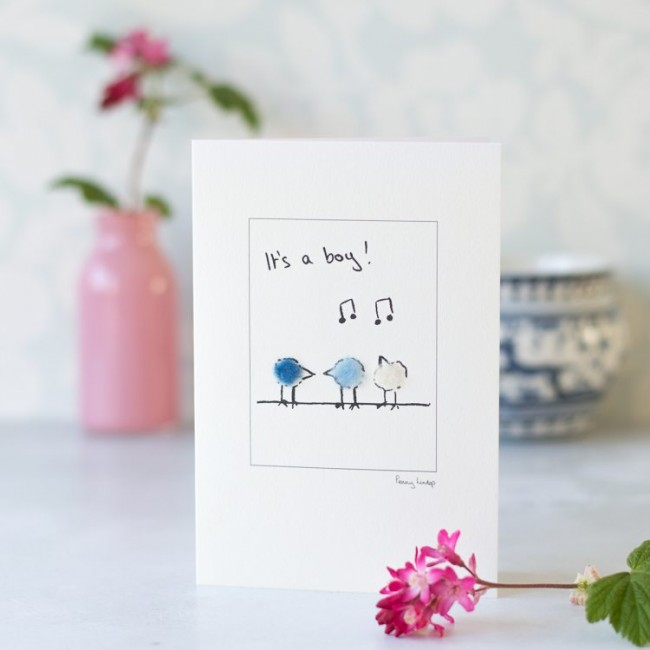 New baby card with fluffy birds - 'It's a Boy'