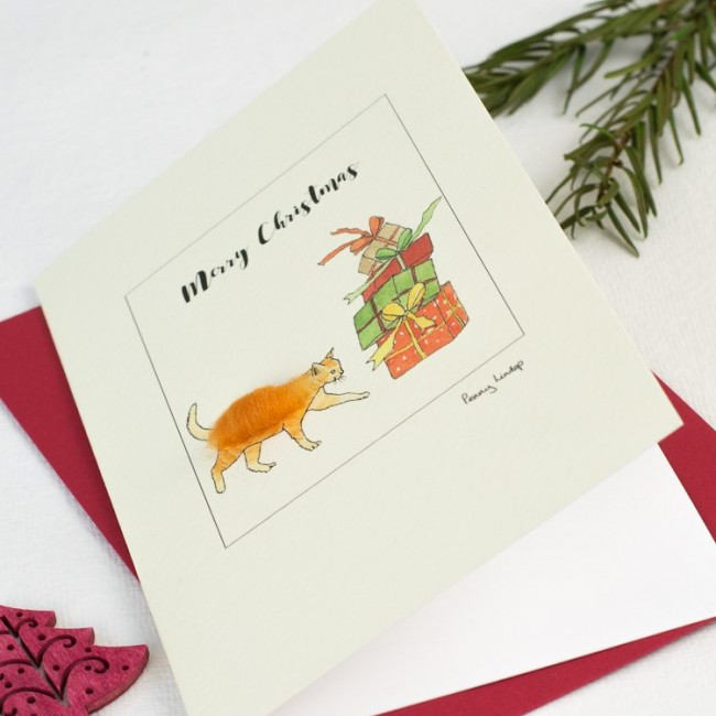 Cat Christmas card with ginger cat