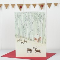 Scandi Woodland Reindeer Christmas Card