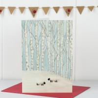 Scandi Winter Woodland Sheep Christmas Card