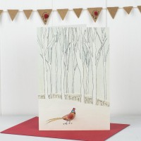 Scandi Winter Woodland Pheasant Christmas Card