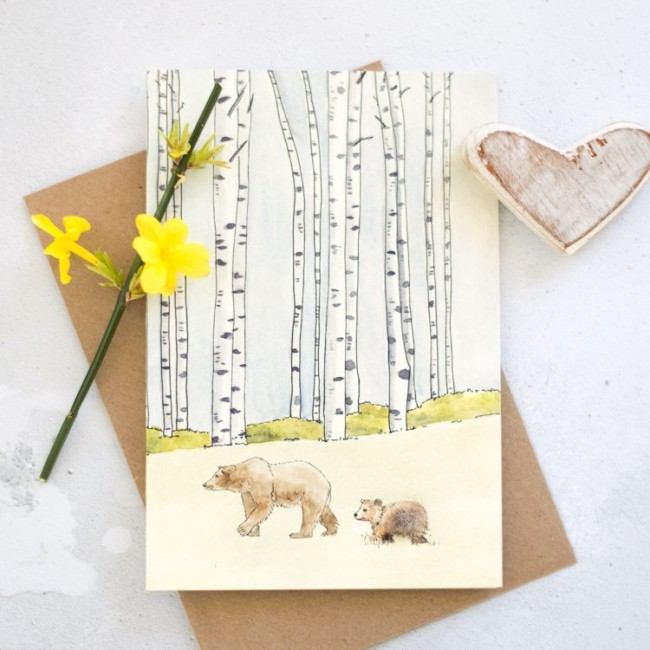Woodland Mother Bear & Cub Card