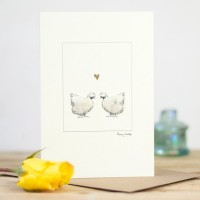 Silkie Chickens & Heart Card