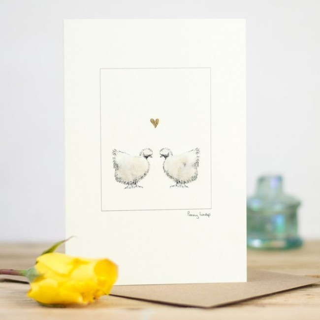 Chicken Card - Silkies and Heart