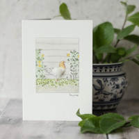 Hen in Flowers Watercolour Card