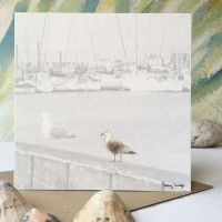 Seagull & Fishing Boats Card